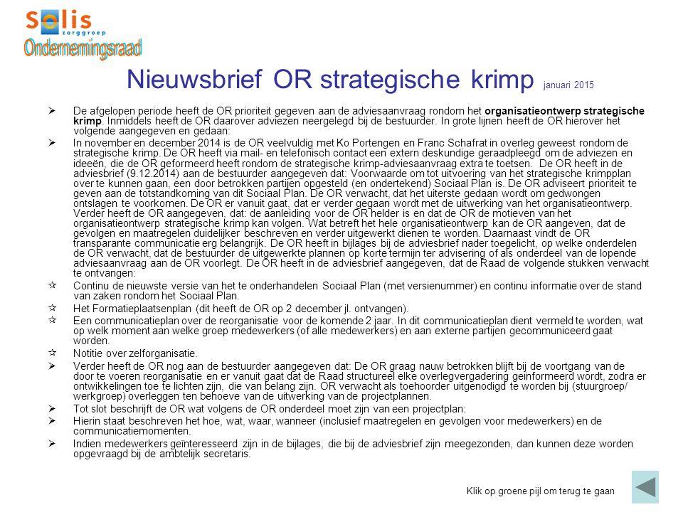 Nieuwsbrief OR strategische krimp januari 2015