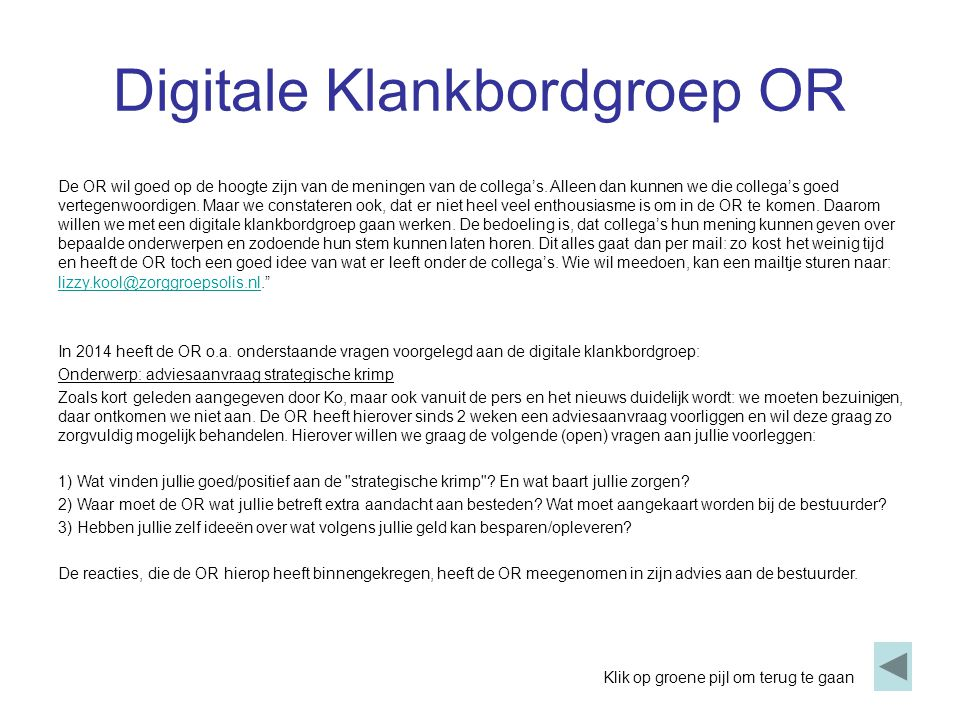 Digitale Klankbordgroep OR