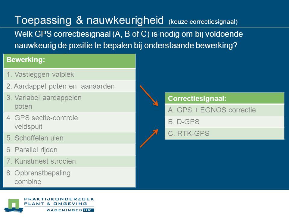 Toepassing & nauwkeurigheid (keuze correctiesignaal) Welk GPS correctiesignaal (A, B of C) is nodig om bij voldoende nauwkeurig de positie te bepalen bij onderstaande bewerking toepassingen