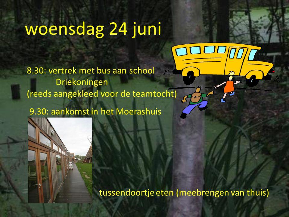 woensdag 24 juni 8.30: vertrek met bus aan school Driekoningen