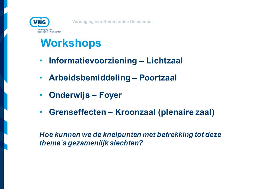 Workshops Informatievoorziening – Lichtzaal