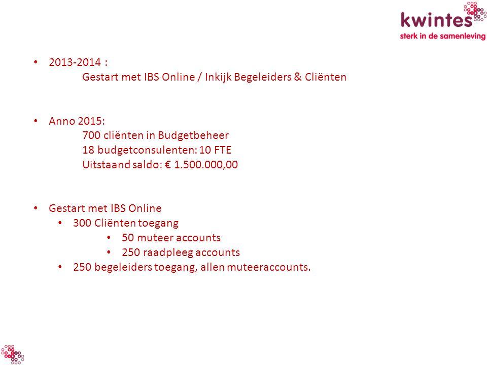 2013-2014 : Gestart met IBS Online / Inkijk Begeleiders & Cliënten. Anno 2015: 700 cliënten in Budgetbeheer.