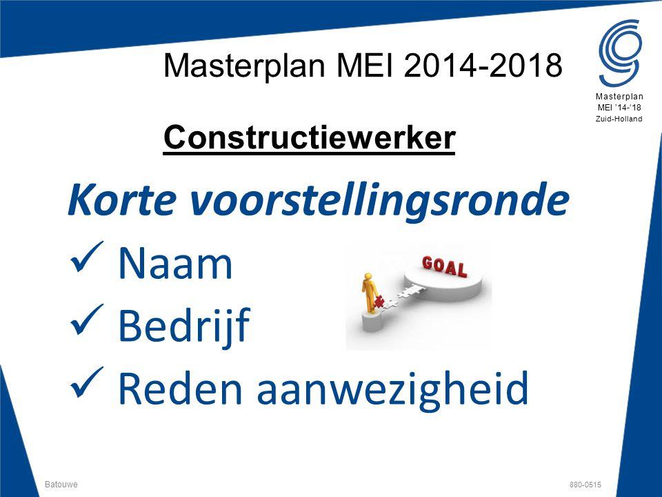 Masterplan MEI 2014-2018 Constructiewerker