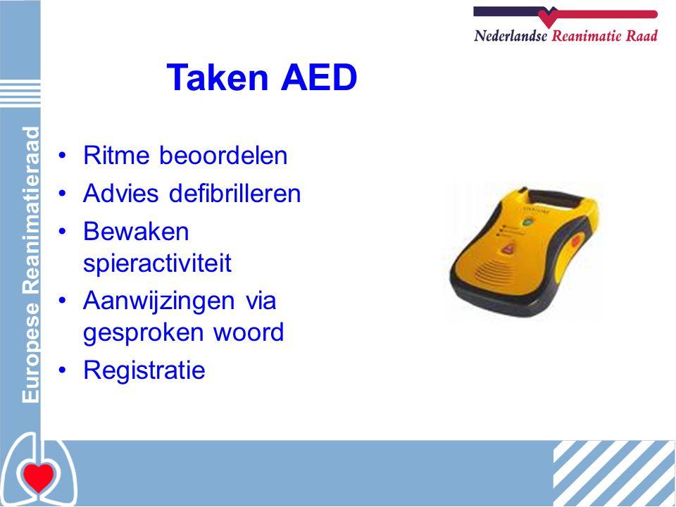 Taken AED Ritme beoordelen Advies defibrilleren