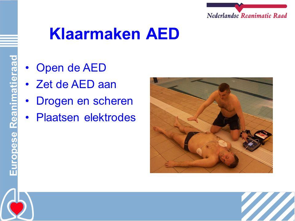 Klaarmaken AED Open de AED Zet de AED aan Drogen en scheren