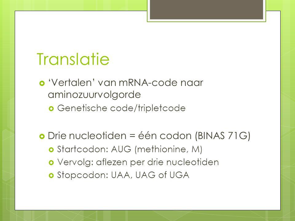 Translatie 'Vertalen' van mRNA-code naar aminozuurvolgorde