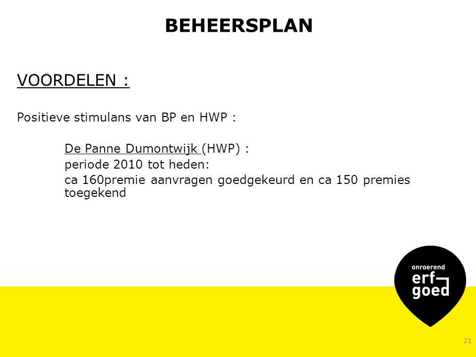 BEHEERSPLAN VOORDELEN : Positieve stimulans van BP en HWP :