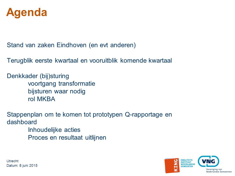 Agenda Stand van zaken Eindhoven (en evt anderen)