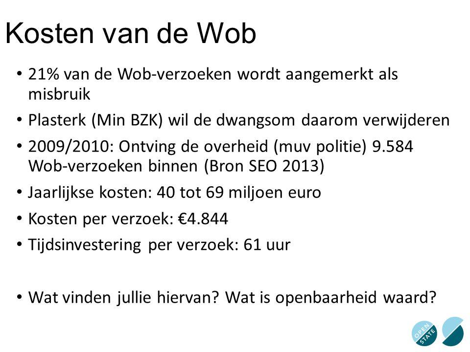 Kosten van de Wob 21% van de Wob-verzoeken wordt aangemerkt als misbruik. Plasterk (Min BZK) wil de dwangsom daarom verwijderen.