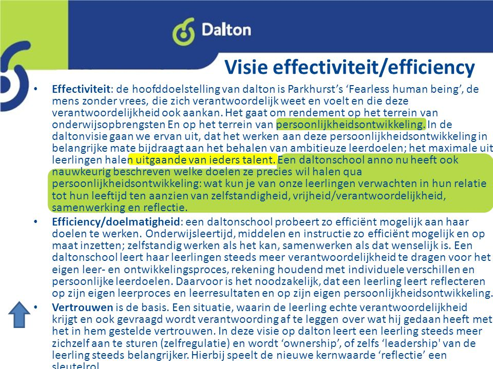 Visie effectiviteit/efficiency