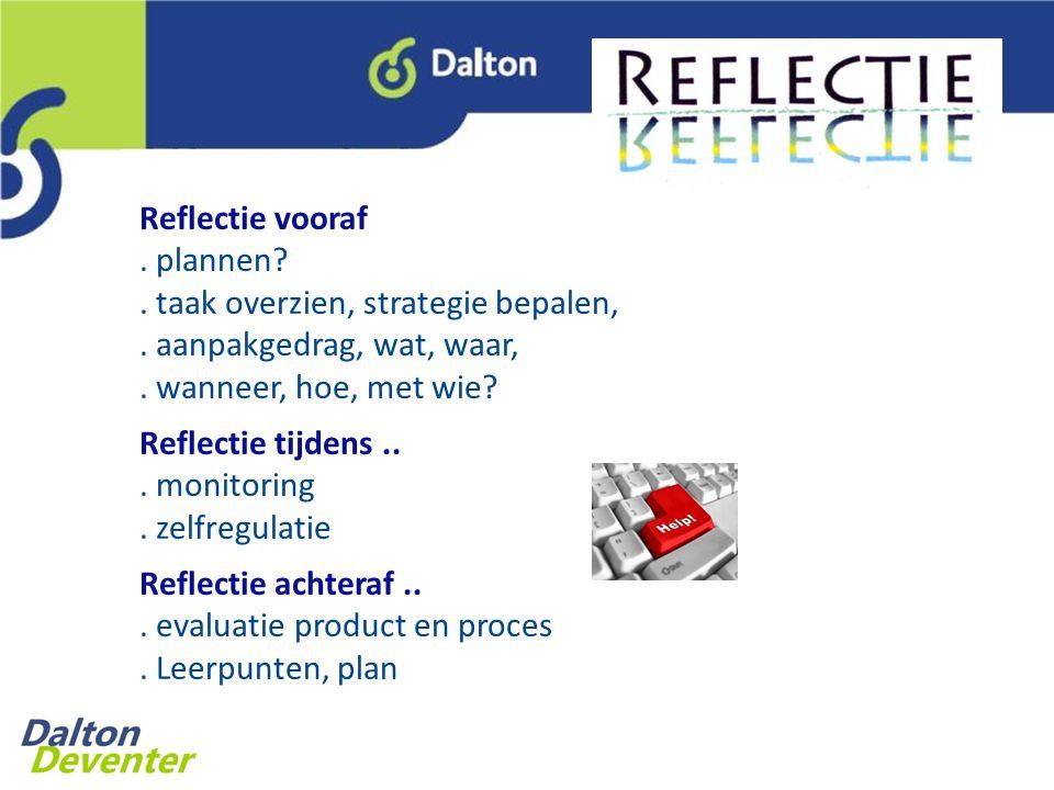 Reflectie vooraf. plannen. taak overzien, strategie bepalen,