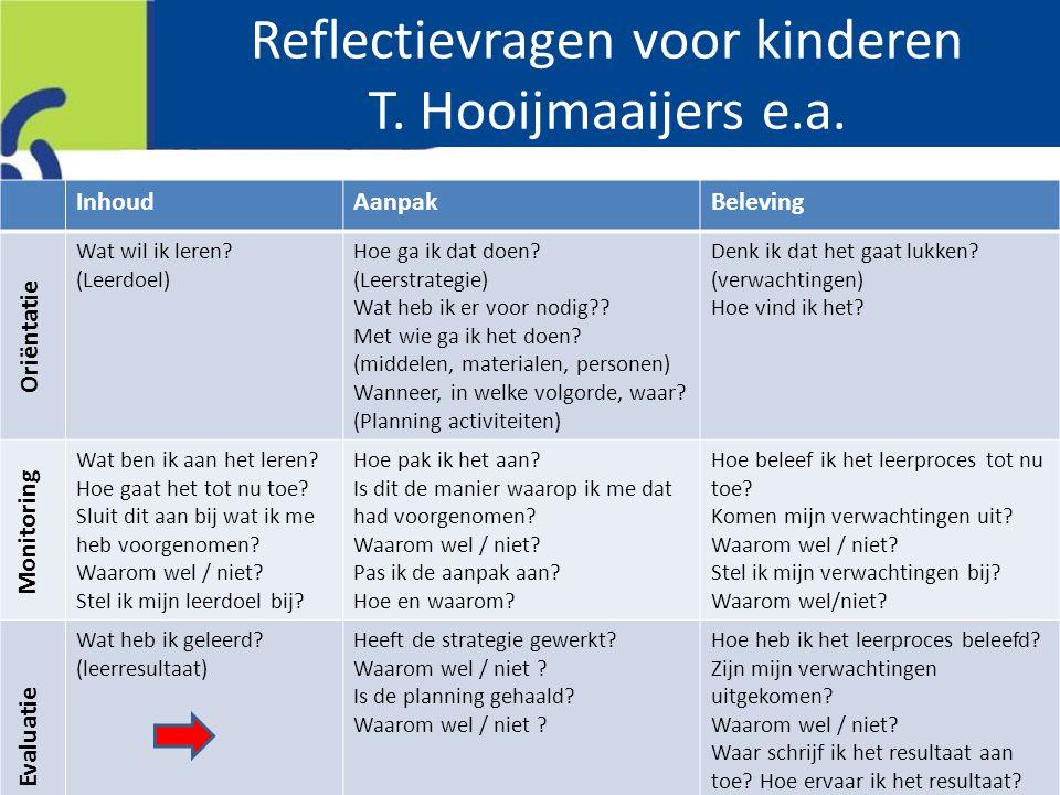 Reflectievragen voor kinderen T. Hooijmaaijers e.a.