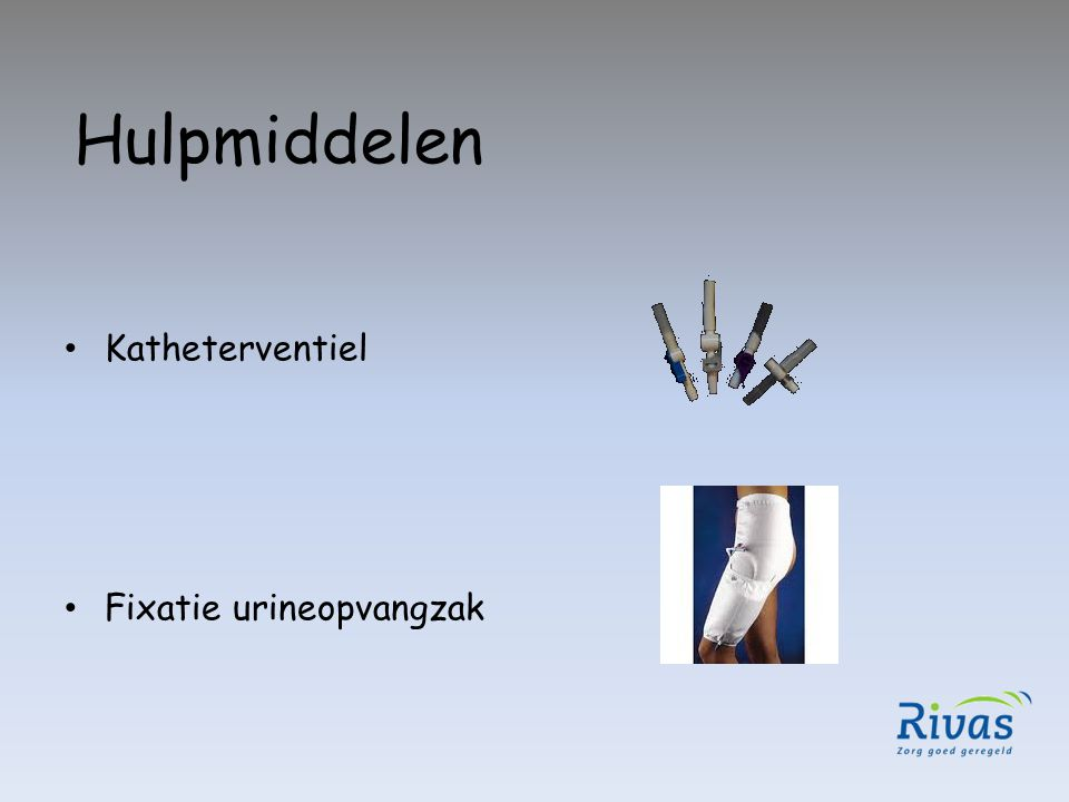 Hulpmiddelen Katheterventiel Fixatie urineopvangzak