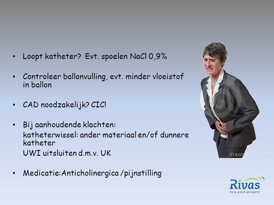 Loopt katheter Evt. spoelen NaCl 0,9%