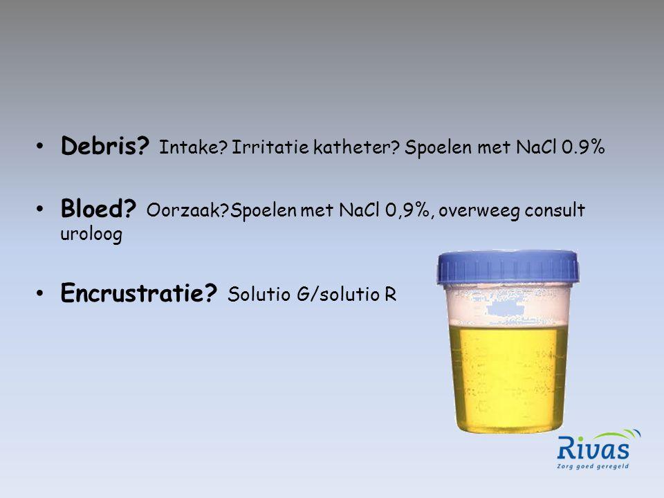 Debris Intake Irritatie katheter Spoelen met NaCl 0.9%