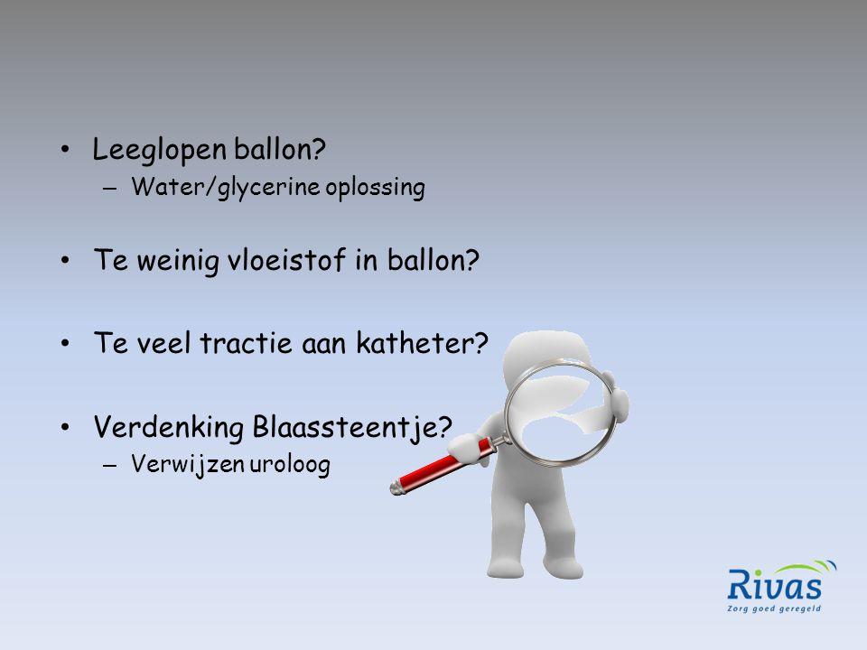 Te weinig vloeistof in ballon Te veel tractie aan katheter