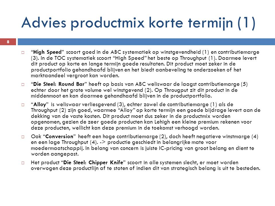 Advies productmix korte termijn (1)