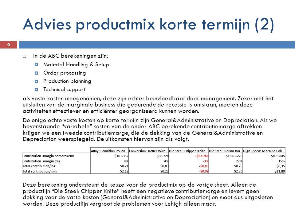 Advies productmix korte termijn (2)