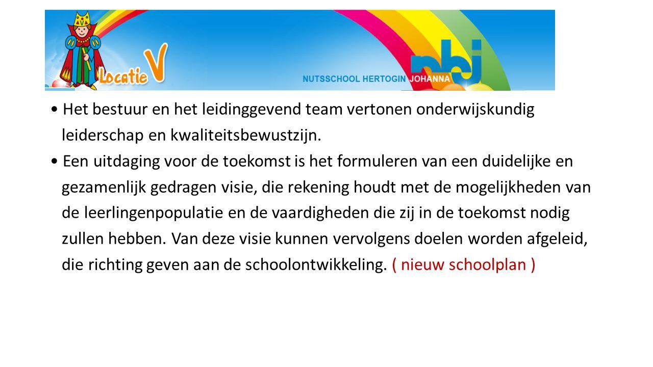 • Het bestuur en het leidinggevend team vertonen onderwijskundig