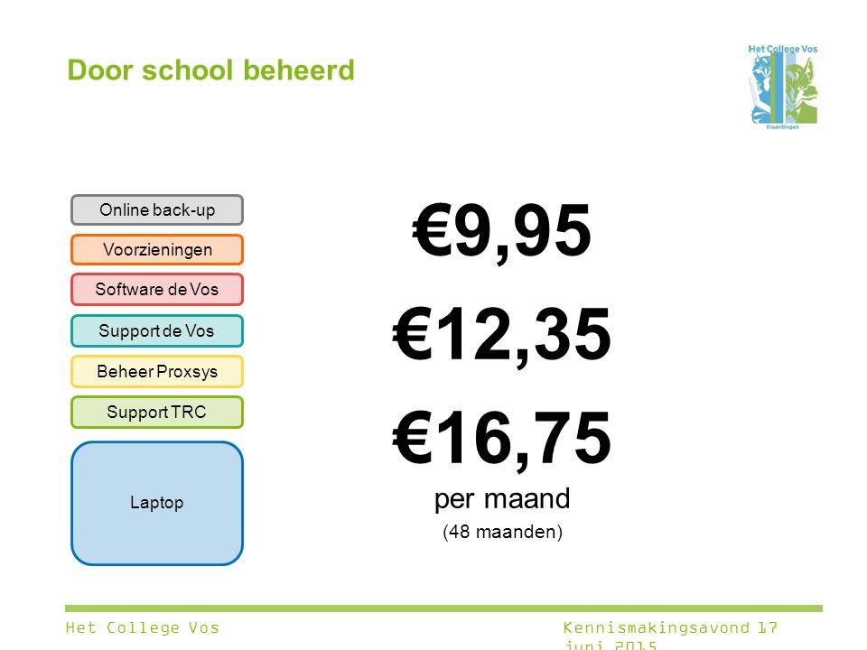 €9,95 €12,35 €16,75 per maand Door school beheerd (48 maanden)