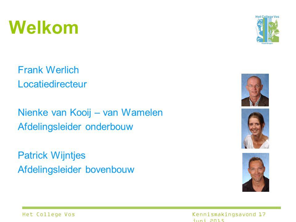 Welkom Frank Werlich Locatiedirecteur Nienke van Kooij – van Wamelen