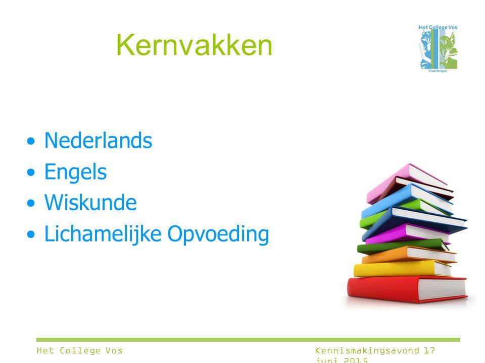 Kernvakken Nederlands Engels Wiskunde Lichamelijke Opvoeding