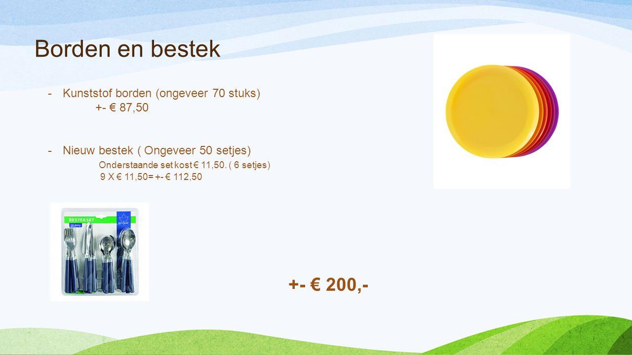 Borden en bestek +- € 200,- Kunststof borden (ongeveer 70 stuks)