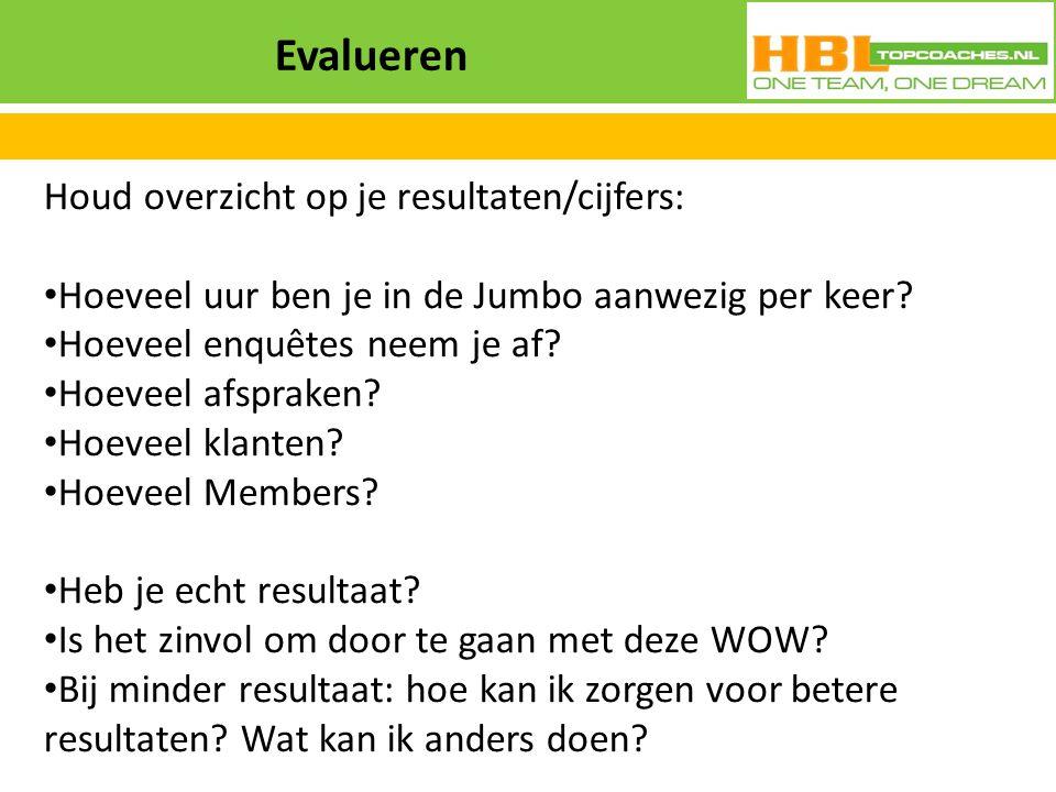 Evalueren Houd overzicht op je resultaten/cijfers:
