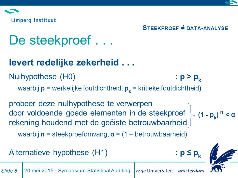 Steekproef ≠ data-analyse De steekproef . . .
