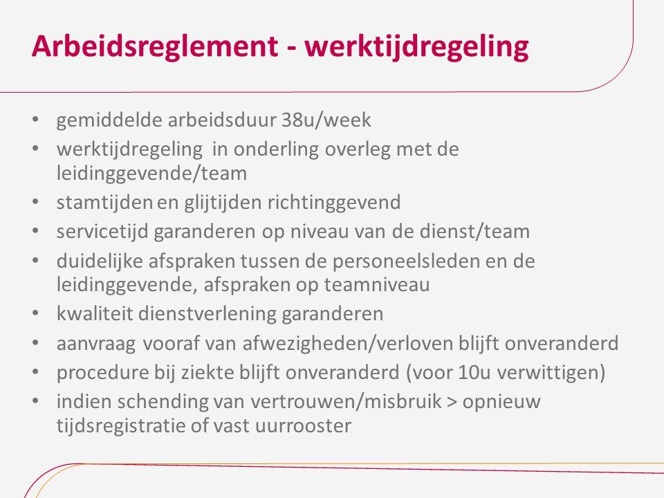 Arbeidsreglement - werktijdregeling