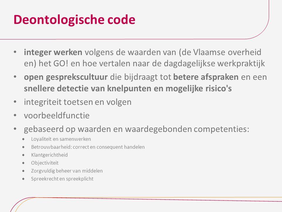 Deontologische code integer werken volgens de waarden van (de Vlaamse overheid en) het GO! en hoe vertalen naar de dagdagelijkse werkpraktijk.