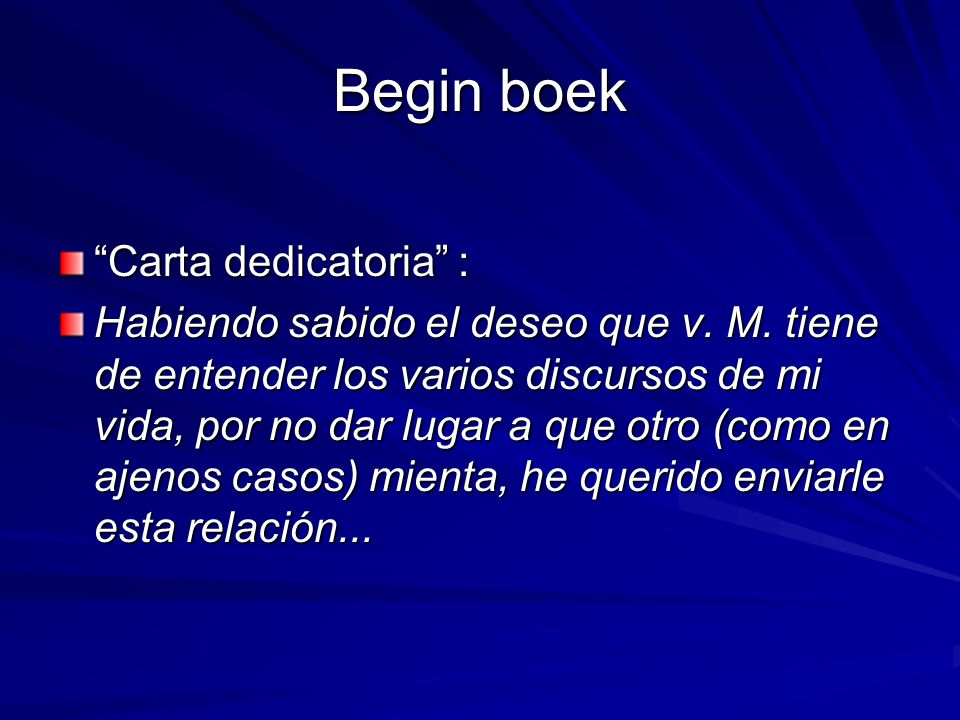 Begin boek Carta dedicatoria :