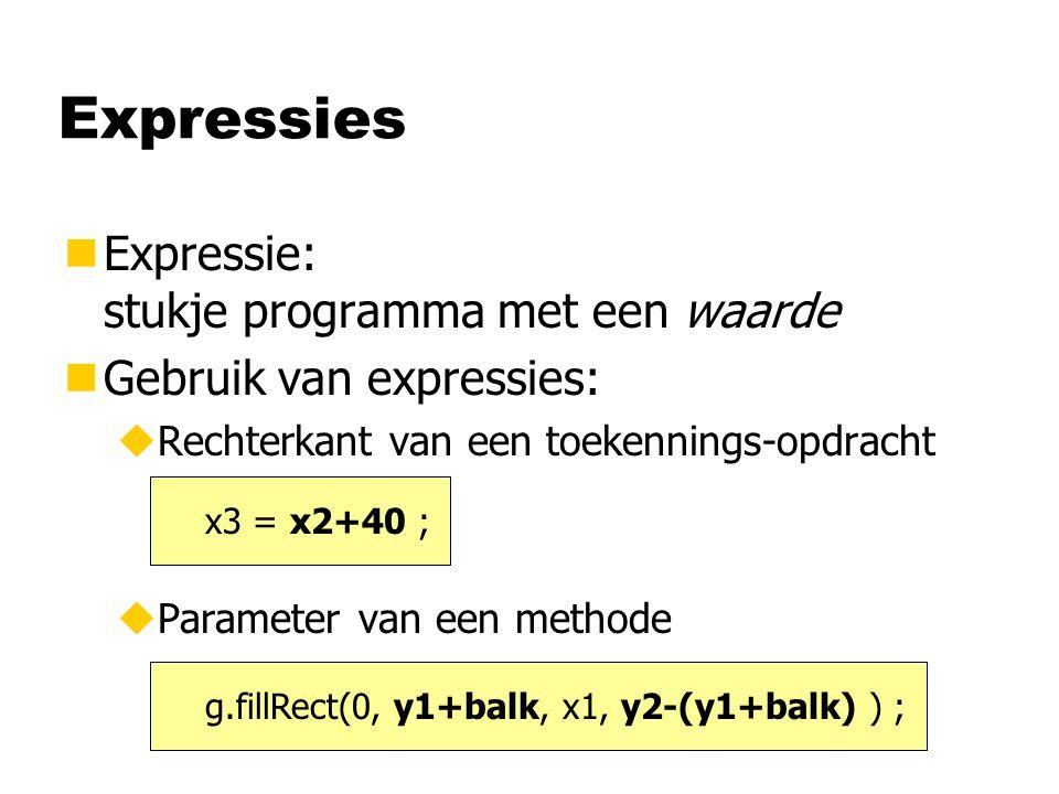Expressies Expressie: stukje programma met een waarde