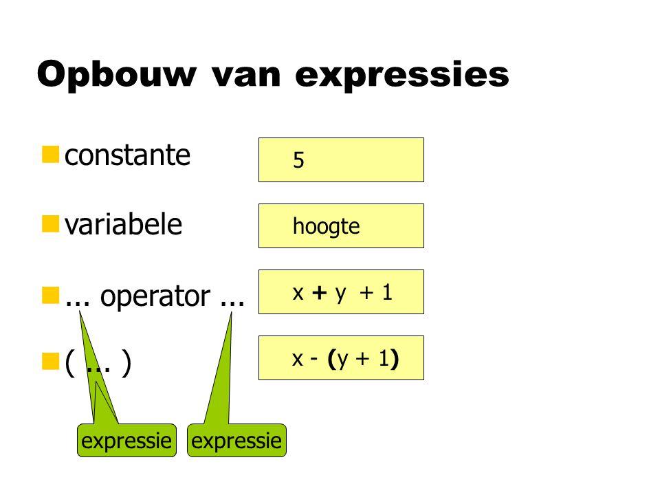 Opbouw van expressies constante variabele ... operator ... ( ... ) 5
