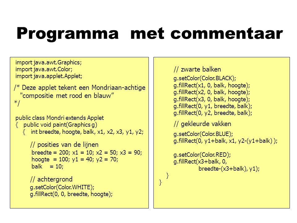 Programma met commentaar asd // zwarte balken