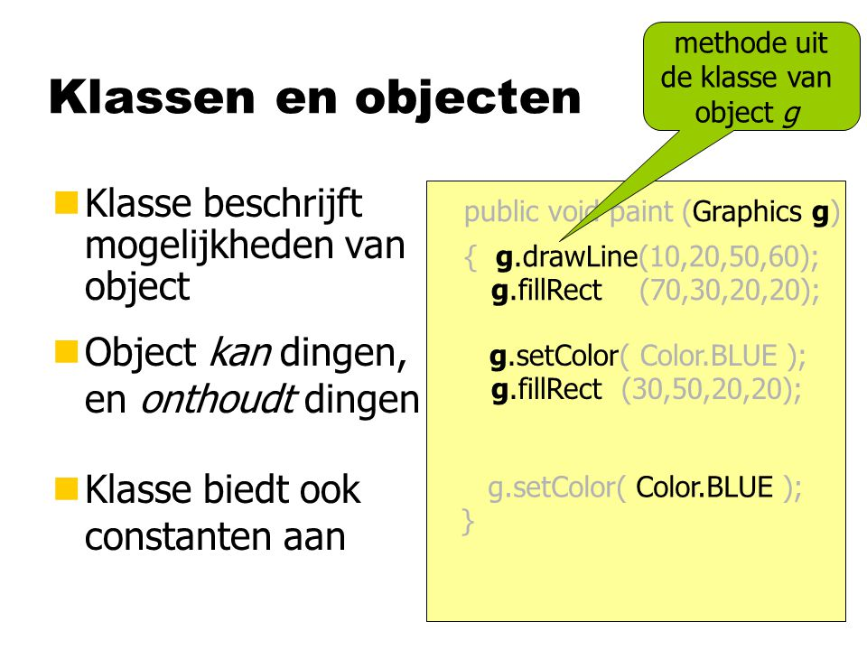 methode uit de klasse van object g