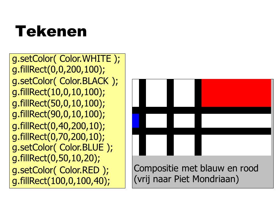 Tekenen g.setColor( Color.WHITE ); g.fillRect(0,0,200,100);