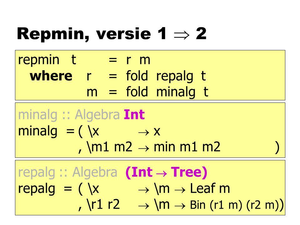 Repmin, versie 1  2 repmin t = r m where r = fold repalg t
