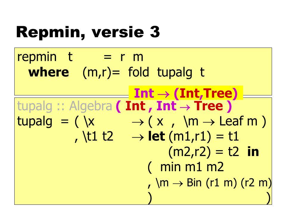 Repmin, versie 3 repmin t = r m where (m,r)= fold tupalg t