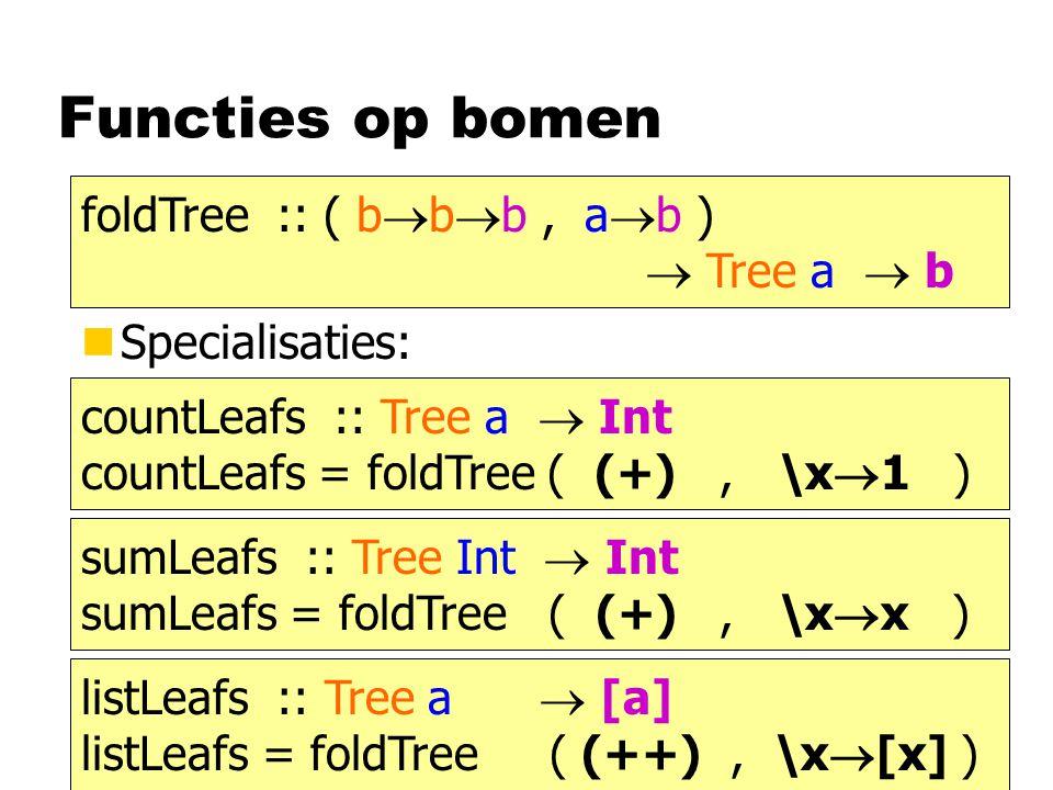 Functies op bomen foldTree :: ( bbb , ab )  Tree a  b