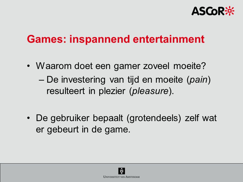 Games: inspannend entertainment