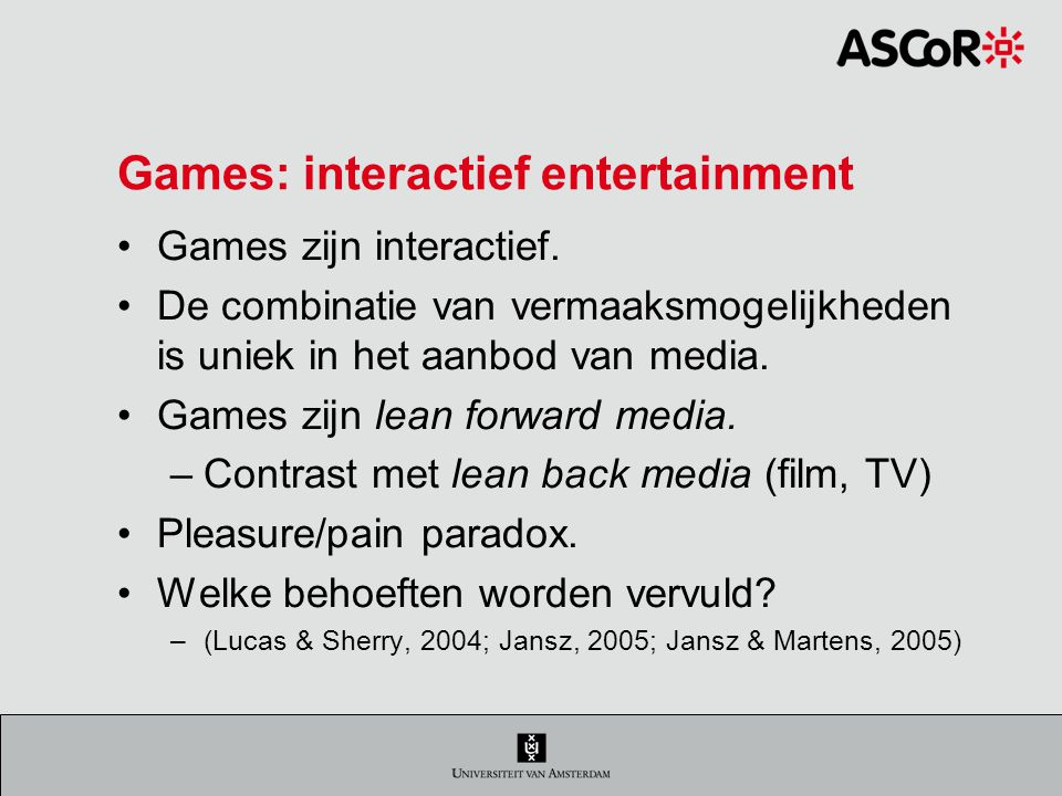 Games: interactief entertainment