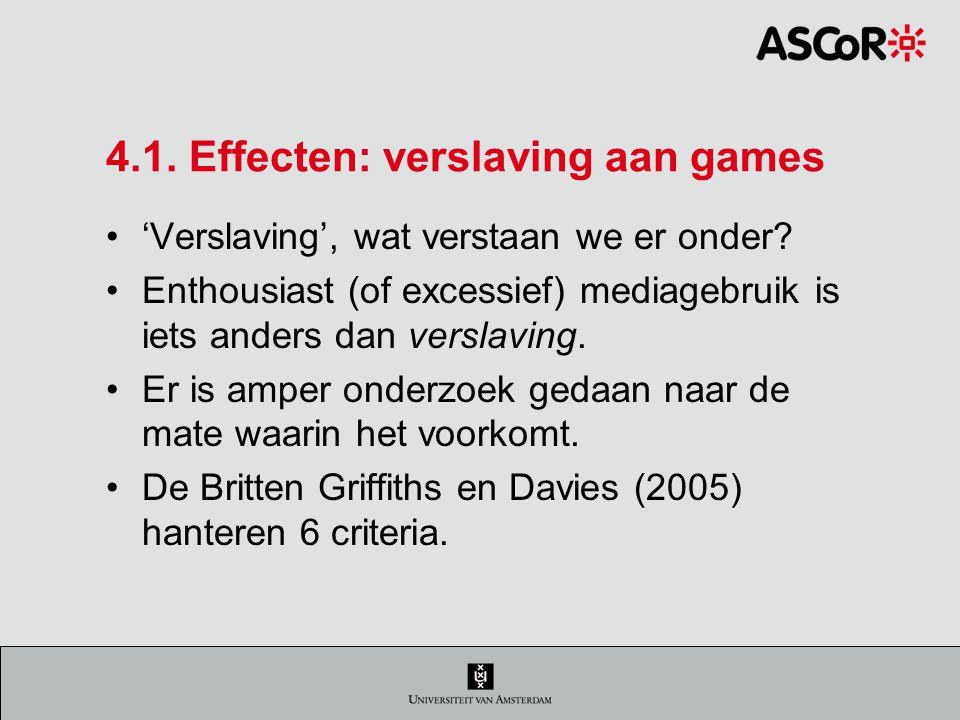 4.1. Effecten: verslaving aan games