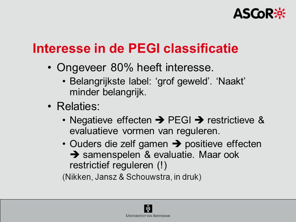 Interesse in de PEGI classificatie