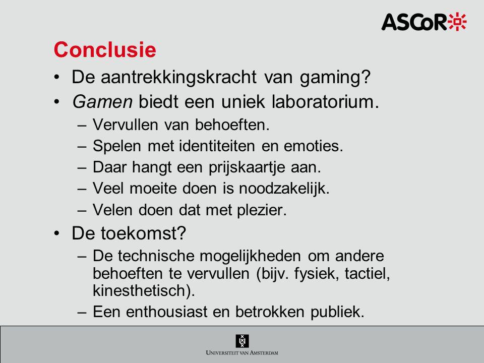 Conclusie De aantrekkingskracht van gaming