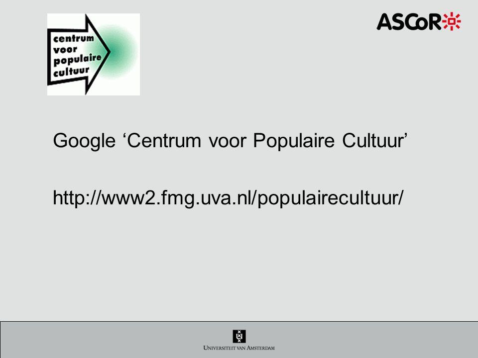 Google 'Centrum voor Populaire Cultuur'