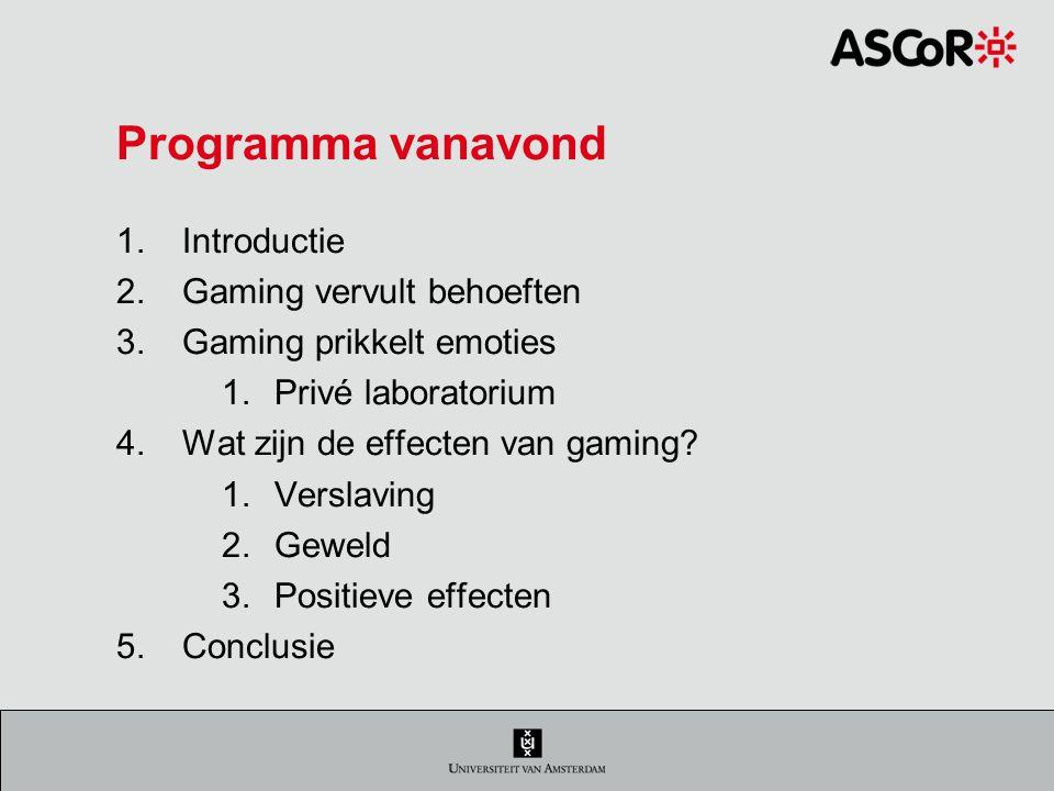 Programma vanavond Introductie Gaming vervult behoeften