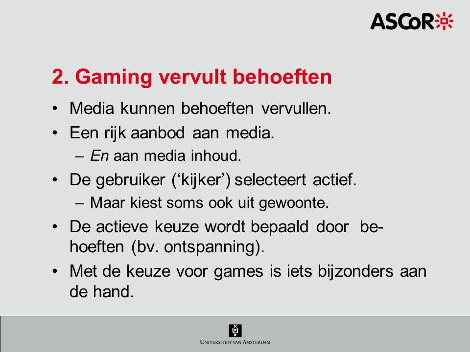 2. Gaming vervult behoeften
