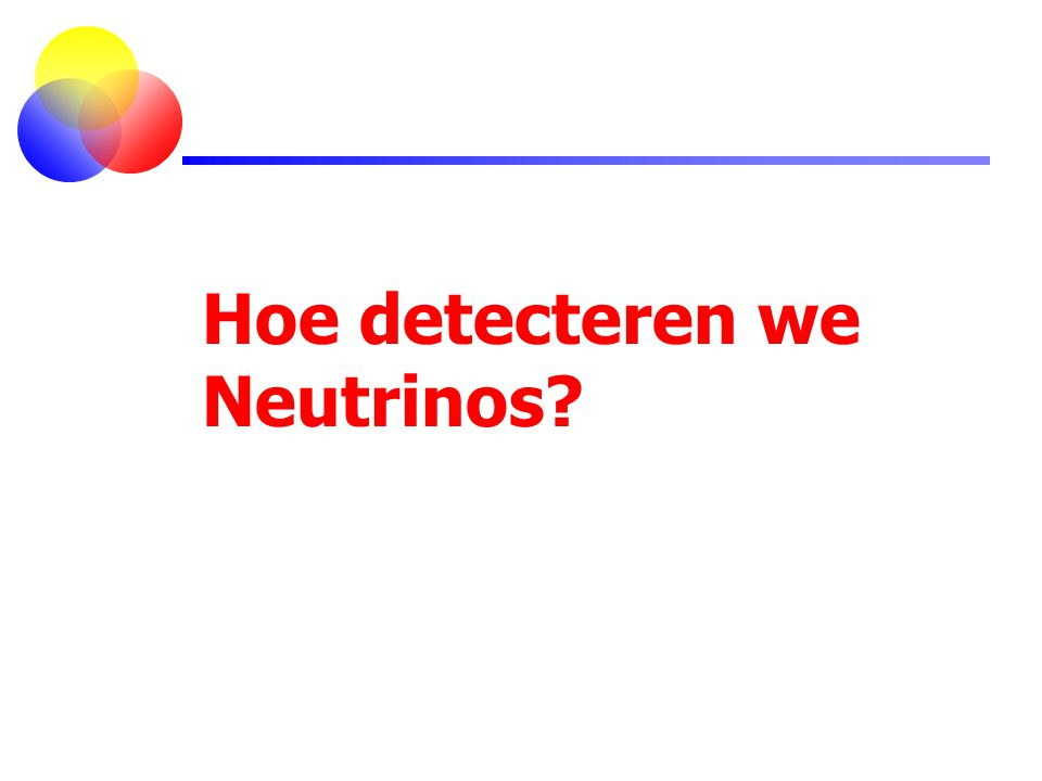 Hoe detecteren we Neutrinos