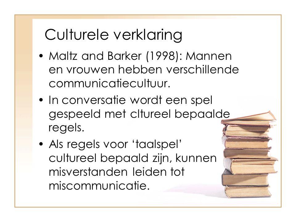 Culturele verklaring Maltz and Barker (1998): Mannen en vrouwen hebben verschillende communicatiecultuur.